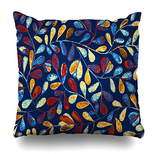 Ahawoso Throw Pillow Cover Square 20x20 Inches Pictorial Navy Painting Bright Blue Floral Flower Forest Orange Tiny Abstract Batik Border Bosk Cushion Case Home Decor Pillowcase