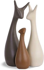 SANFERGE Ceramic Figurine Animal Porcelain Ornaments Crafts Art Sculpture Home Decor Accessories for Birthday Wedding Decorative Gifts (Deer)