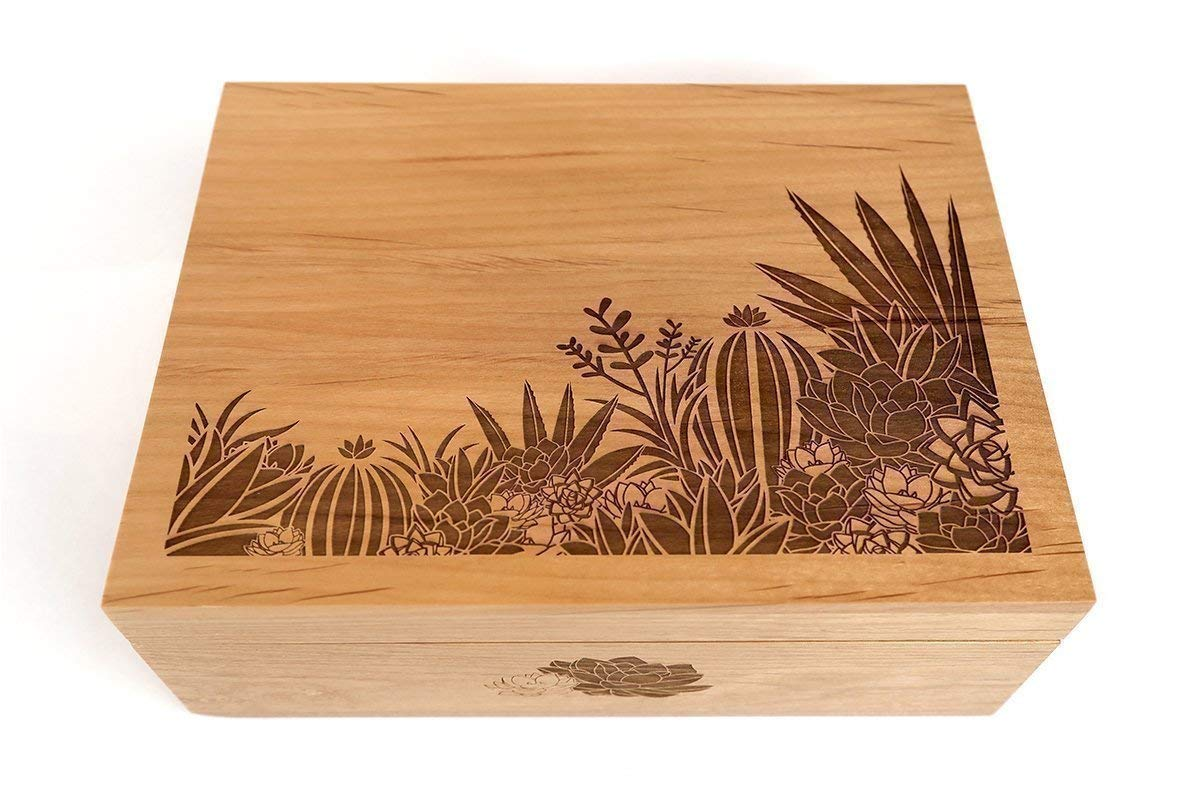 Desert Garden Laser Cut Wood Keepsake Box (Wedding Gift/Birthday Gift/Heirloom / Decorative/Handmade)