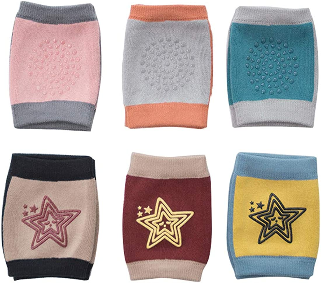 Repuhand Baby Kneepads Unisex Girls Boys Toddler Infant 6-24 Months Crawling Safety Anti-Slip Protective Knee Cotton Leg Warmers 6pair