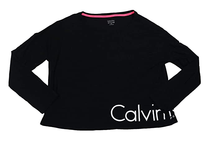 0a4cf10f7c0afd Calvin Klein Women's Performance Logo Cropped Long-Sleeve T-Shirt Black XXL