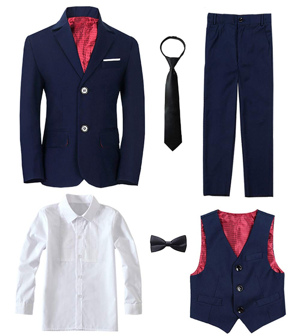 Yanlu 6 Piece Boy's Tuxedos Toddler Formal Suits Set Size 7 Kids Blue Slim Fit Suit for Weddings