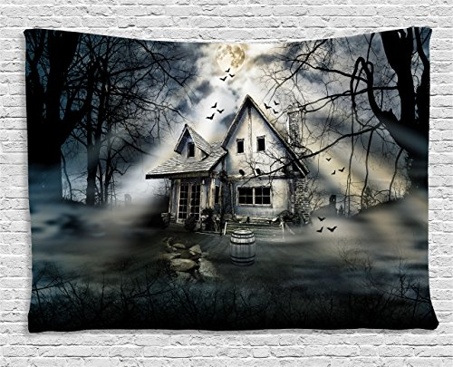 Halloween Tapestry by Ambesonne, Haunted House with Dark Horror