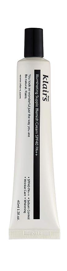 Klairs Illuminating Supple Blemish Cream, Korean Beauty Product, 40 ml, No Grey Cast, No Dry Patch, Not cakey, blends well, SPF 40PA++, sebum control,sunscreen