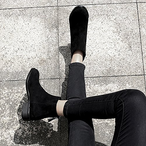 KPHY-Neue Koreanische Niedrigen Teller Mit Niedrigen Koreanische Runden Kopf Niedrige Stiefel Chelsea - Stiefel Und Stiefeletten Zurück. schwarz 222795