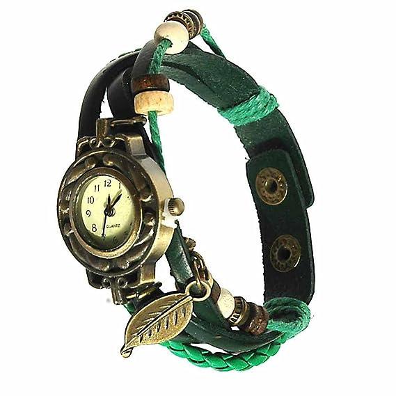 Reloj de Pulsera Agujas quarzo Cuero Joya Reloj Mujer Thalie Verde Regalo: Amazon.es: Relojes