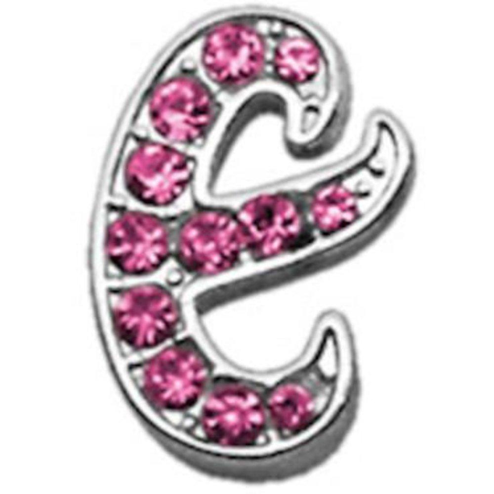 3 8  Pink Script Letter Sliding Charms E .