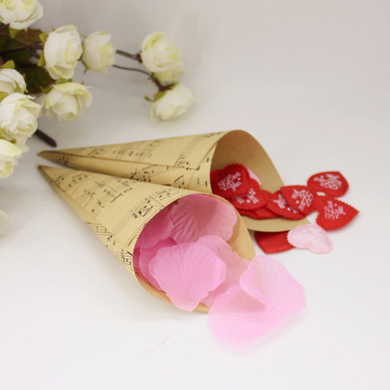 Gosear 50 Stk Retro Kraft Papier Cones Bouquet Candy Schokolade Taschen Kontrollk/ästchen Hochzeit Partei Geschenke Verpackung mit Hanf Seile Label Aufkleber Band B