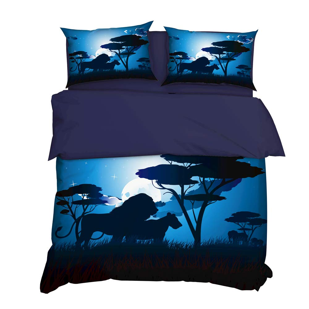 UOUL 3 Pieces Complete Bedding Set 3D Digital Printing Realistic Night Lions Suitable for Young Students Bedroom,Night,Full