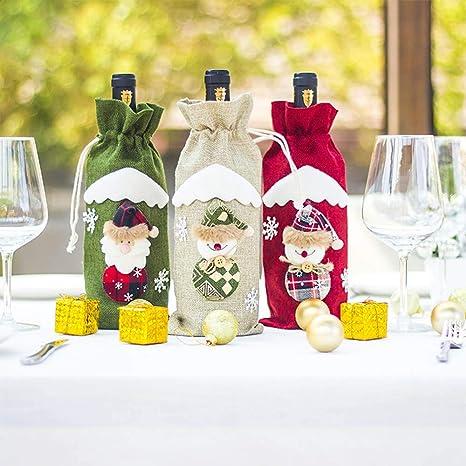 Amazon.com: Bolsas para botellas de vino, diseño de Navidad ...