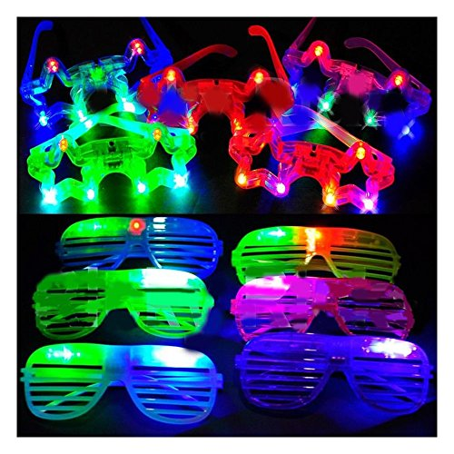 Star+Shutter Glasses LED Flashing Blinking Shades Raves EDC ()