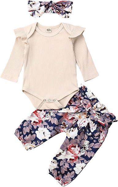 New born Baby Girl 3PCS Clothes Floral T Shirt Tops Shorts Headband Outfits Sets