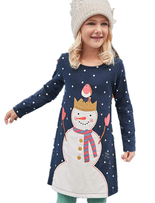 HOMAGIC2WE Girls Long Sleeve Cotton Dress Cute Cartoon Basic Printed Dot Dresses Toddler