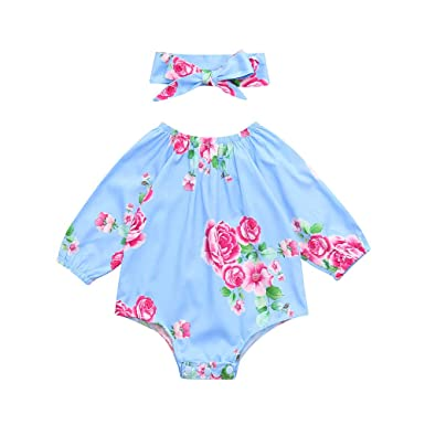 41c385e4bec Little Girls Bodysuits Clothes Infants Baby Girls Floral Long Sleeve  Jumpsuit Headband Outfits (Age