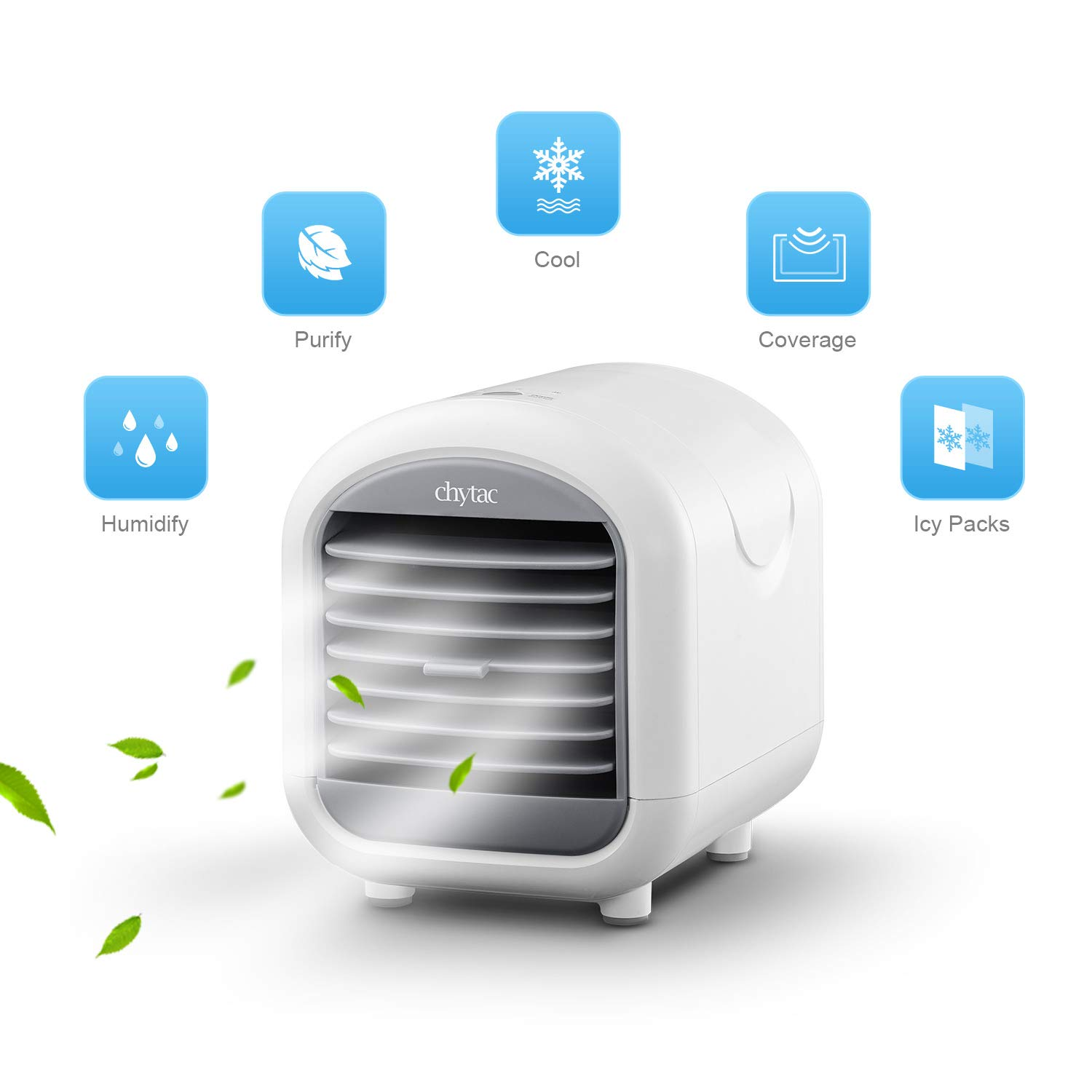 Chytac Mini Air Conditioner Personal Air Cooler Portable Arctic with 3 Speed 15 Million Negative ions dust Removal and Sterilization for Room Home (White) by Chytac