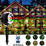 Christmas Lights Projector Outdoor Geefawa 20 Patterns Red and Green Star Light Shower Waterproof Laster Projector Lights with Remote Control for Indoor,Outdoor,Landscape,Garden Decorations