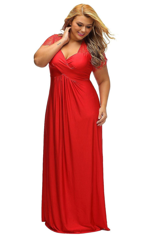 ILFtrend Spitze Splicing Große Größen Kleid Partykleider Cocktail ...