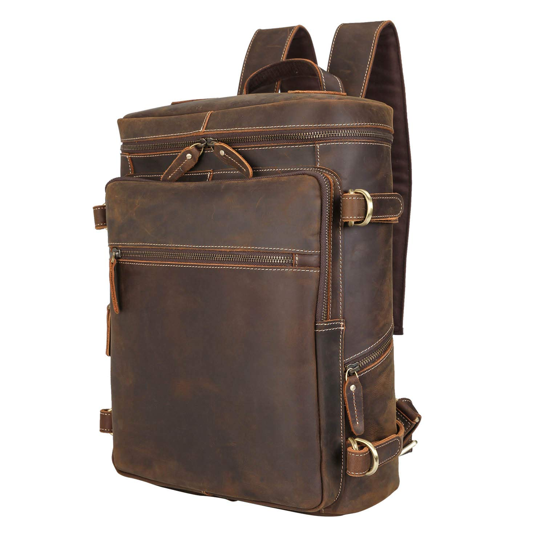Polare Men s Retro Full Grain Leather Backpack Casual School Case Laptop Hiking Daypack