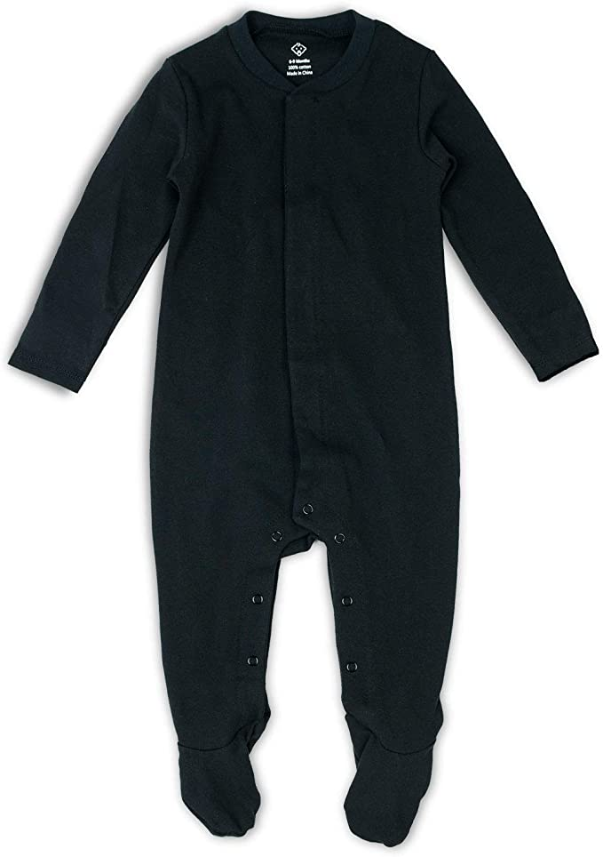Baby Footed Pajamas Solid Color Buckle Bodysuit Girls Boys One-Piece Footies Sleeper Coming Home Outfit Sleepwear