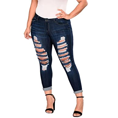 fd40c13b3baa84 Qisc Jeans, Women's Plus Size High Waist Destroyed Ripped Hole Stretch  Denim Skinny Jeans Distressed