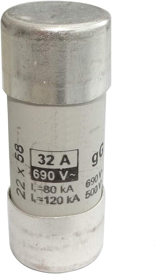 Fusible c/éramique GG 5.8cm 63A 690VAC 22x58mm C42406 AERZETIX