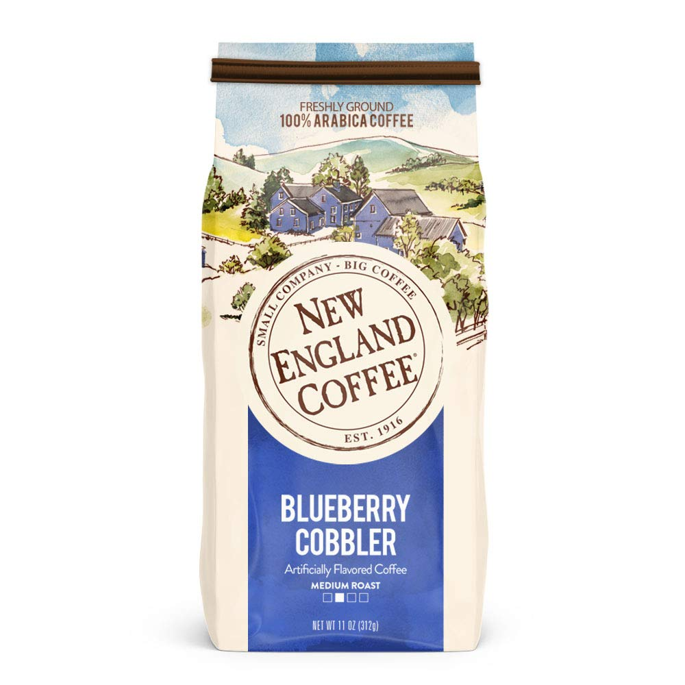 New England Coffee Blueberry Cobbler, Medium Roast Ground Coffee, 11 Ounce Bag