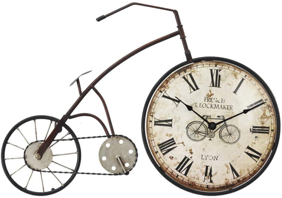 XIPI Reloj de Pared para Bicicleta/Reloj de Pared Vintage, Reloj Decorativo de números Romanos de Hierro Forjado, Adecuado para Sala de Estar, Comedor, Barra (59 × 38,5 cm), 57,5x38x6 cm