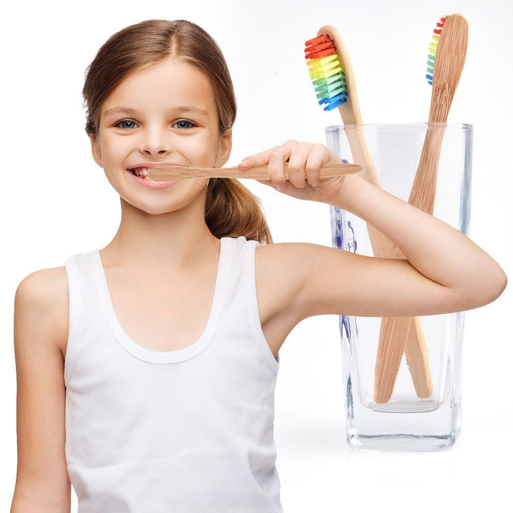 Genenic 10Pcs 100% Natural Bamboo Rainbow Color Toothbrush With Soft Nylon Bristles for Kids Men and Women
