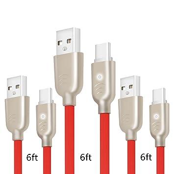 Cable USB tipo C, 3 unidades de 6 pies de luz LED plano USB A a
