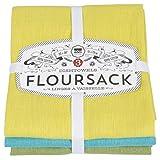 Now Designs Flour Sack Dishtowels, Chartreuse/Turquoise/Leaf, Set of 3