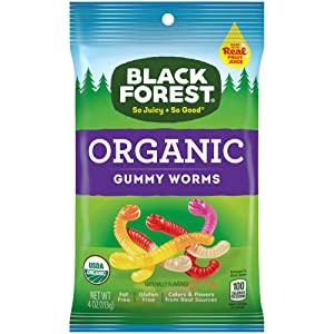 Black Forest Organic Gummy Worms, 4 Ounce, Pack of 12