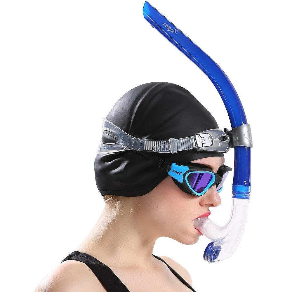 COPOZZ Swim Snorkel for Lap Swimming Swimmers Training Snorkeling Diving, Center Mount Comfortable Silicone Mouthpiece One-Way Purge Valve, Easy to Breath for Pool and Open Water (4300 B) by COPOZZ