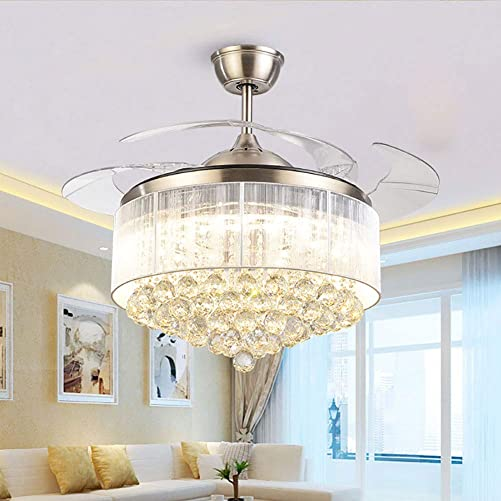 Modern Dimmable Fandelier Crystal Ceiling Fan
