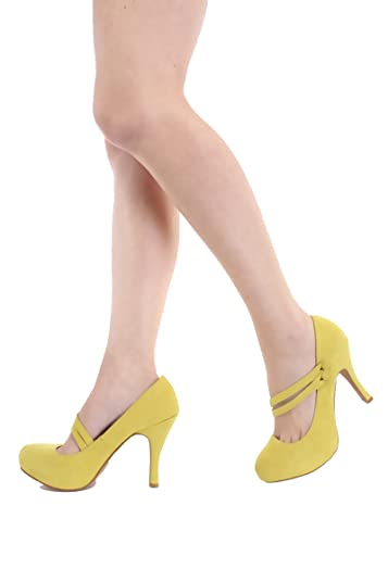 d8ca9b4f7af5 Qupid Double Mary Jane Straps High Heels Stiletto Pump Shoes Qutrench-26  Lemon Lime or