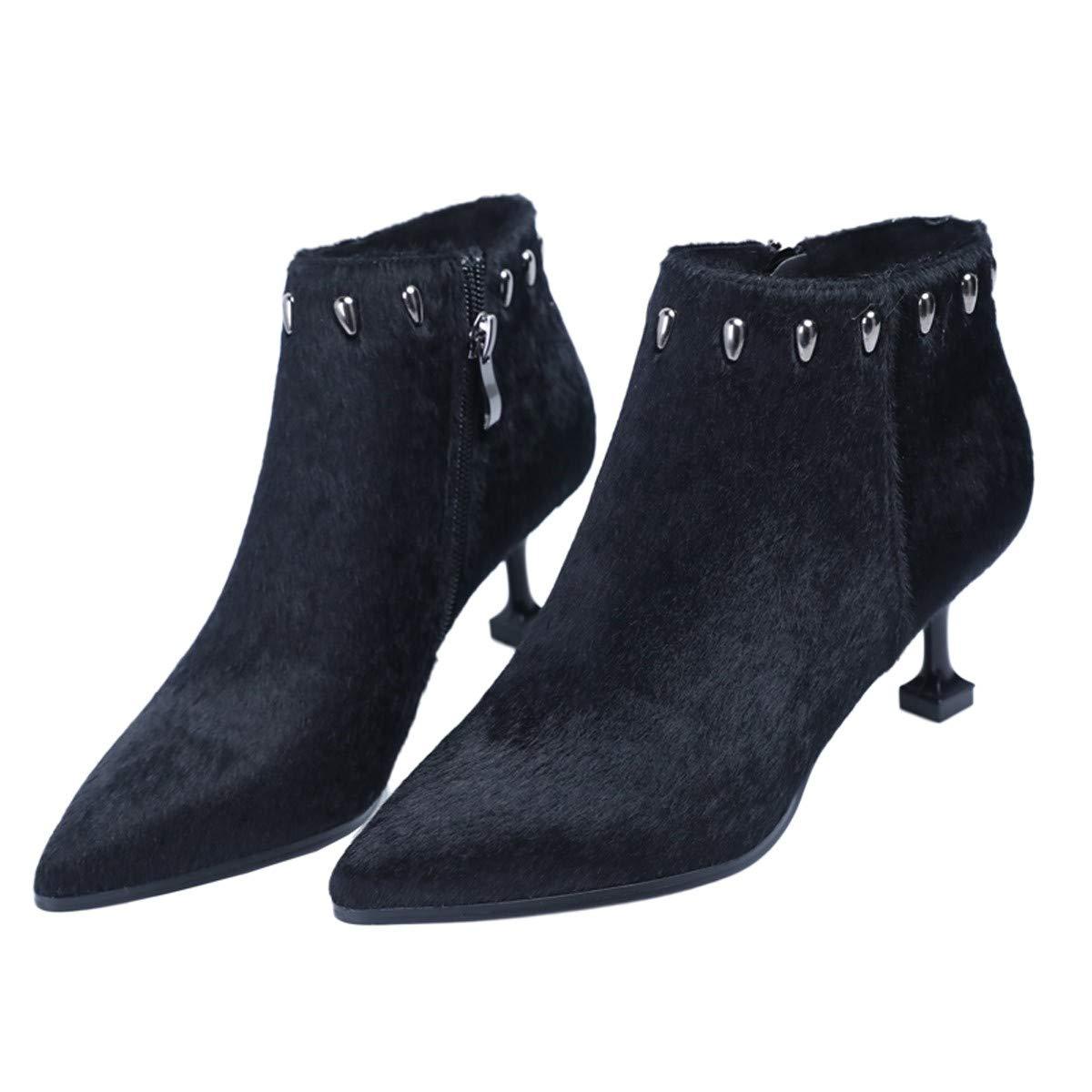 LBTSQ-Kurze Stiefel 6CmSpitz Sexy Nieten Dünnen Absätzen Stiefeletten High Heels Ma Dingxue.