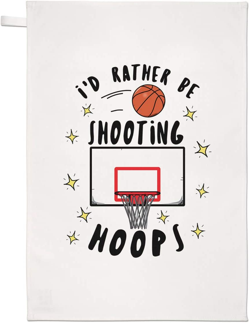 I'd Rather Be Shooting Hoops Basketball Tea Towel Dish Cloth: Amazon.co.uk:  Kitchen & Home