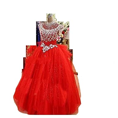 8005f477c THE LONDON STORE Baby Girl's Red Ball Gown for Kids: Amazon.in: Clothing &  Accessories