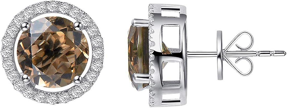 H.AZEEM Royal - Pendientes de cuarzo ahumado