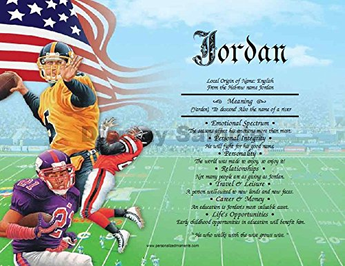 Football Lithographs Prints (Football - Personalized ANY First Name Meaning Keepsake Print 8.5