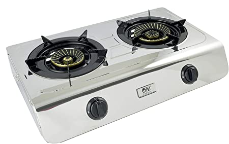 NJ-60SD Estufa de Gas portátil de 2 quemadores Cubierta de Cocina de Acero Inoxidable Doble 60cm LPG 7.7kW (Solo Estufa de Gas)