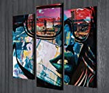 Reflection Canvas Wall Art - City Reflected from Girl's Glasses, Sexy, Colorful - Wooden Thick Frame Painting, Total Size (26'' x 18'') - Set of 3 - Wall Hanging for Living Room, Bedroom, Dorm