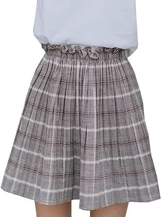 Women's Skirt Checkered Pattern High Waist Aline Skirt