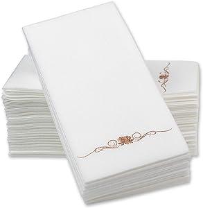 Rose Gold Foil Stamped Airlaid Paper Dinner Napkins – 1/6 Fold 12