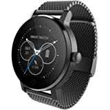 SMA-09 Smart Fitness Tracker Watch for Prime Day Bluetooth Heart Rate Monitor Smartwatch for iPhone 5 5s 6 6s 6plus 7 7s 7plus 8 and Android Phone for Women Men Black-Steel Strap