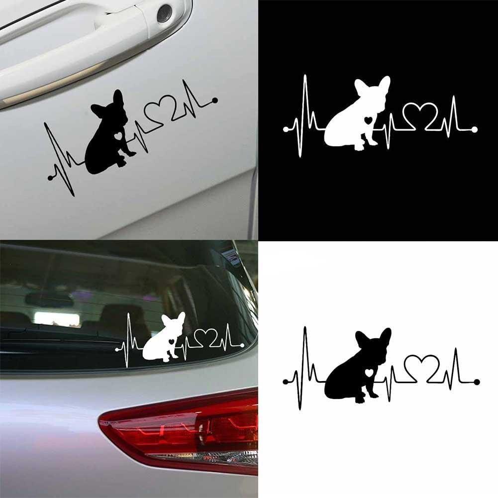 HITTIME French Bulldog Waterproof Vinyl Decoration Car Bumper Window Car Sticker Black//White Black