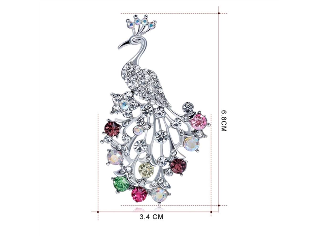 DOOUYTERT Peacock Wedding Bridal Spilla Dress Sciarpe Scialle Clip Lady Bag Ornament Gift (Argento + Coloful) (Colore : Colorful, Dimensione : 3.4x6.8cm)