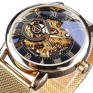 Forsining Hombres 2017 Fashion Classic Golden cinturón de malla de acero mecánico esqueleto reloj de pulsera
