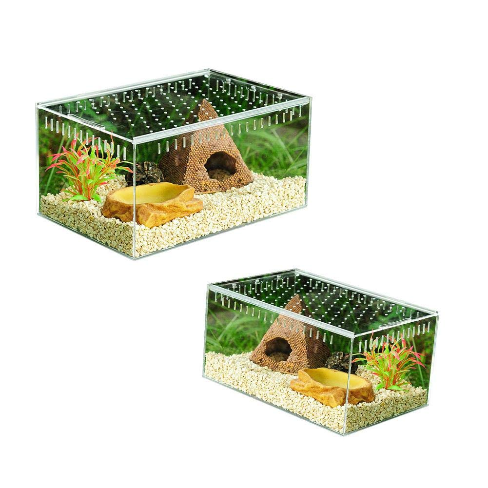 luckycyc Acrylic Reptile Feeding Box,Transparent Reptile Breeding Box Full View Visually Acrylic Sliding Cover Type…