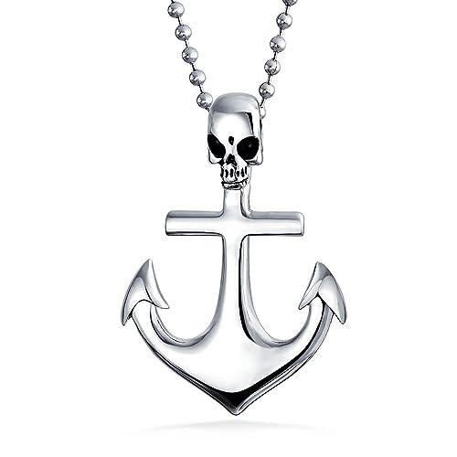 Bling Jewelry Buque náutico Ancla de Barco Pirata cráneo ...