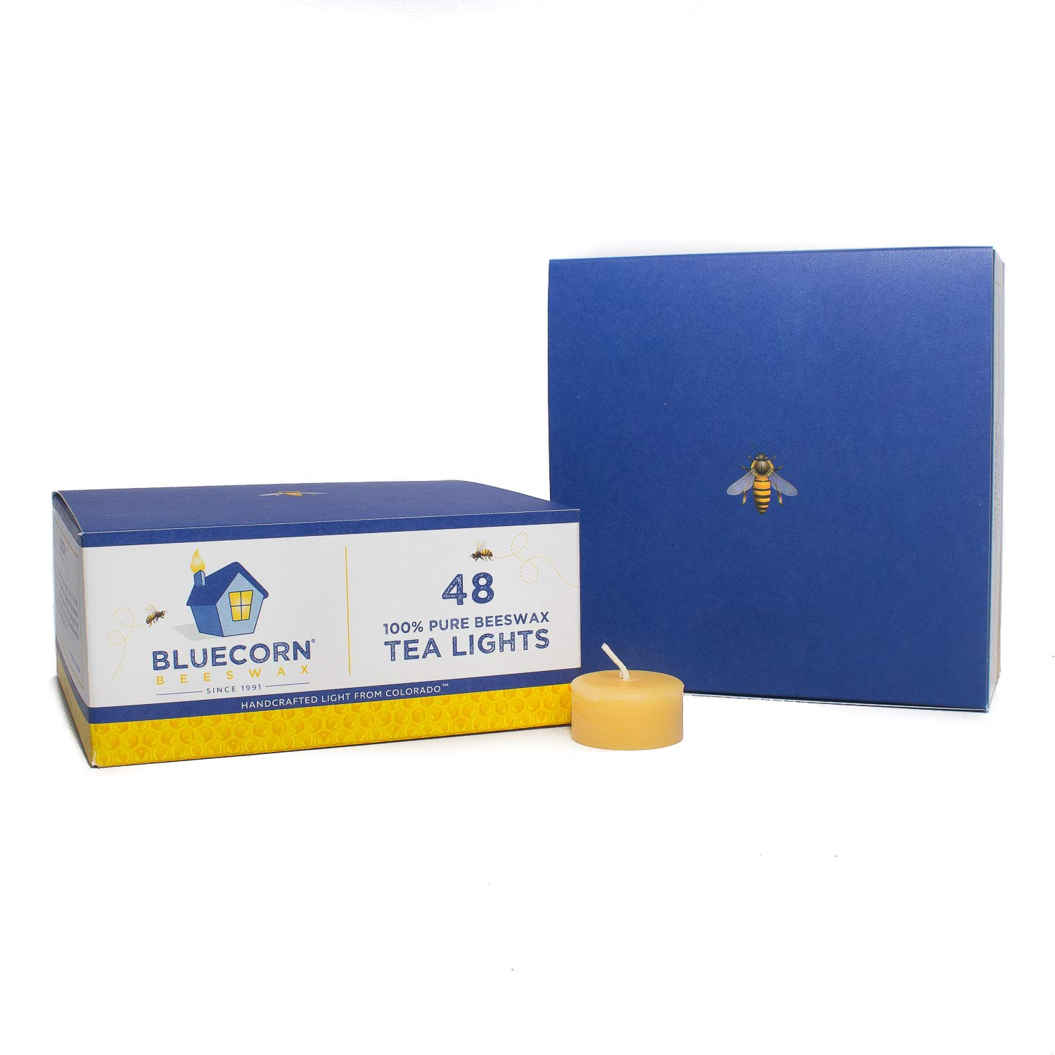 Bluecorn Beeswax 100% Pure Beeswax Tea Light Refills (no Cup) (Raw, 48 case)